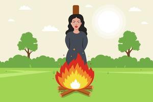 bruja quemada en la hoguera. víctima de error religioso. vector