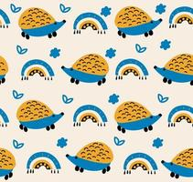 Pattern with cute hedgehogs. Vector kids illustration