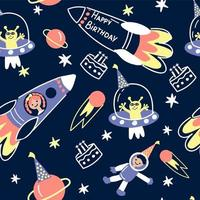 Space birthday background with rockets, planets, stars, cosmonauts vector