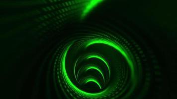movimento volante bagliore verde neon matrice luce effetto futuristico nel tunnel. video
