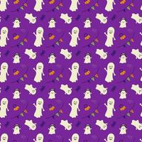 Halloween simple pattern with ghosts, pumpkins and spiders vector