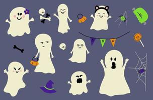 ghost icon element set for Halloween. vector illustration