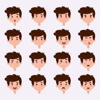 Set of boy emotions. Schoolboy portrait avatars. Variety of emotions teen guy. Emotional education .Vector illustration vector