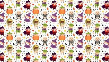 Children in Halloween costumes of spooky creatures Day of dead holiday pattern banner background vector