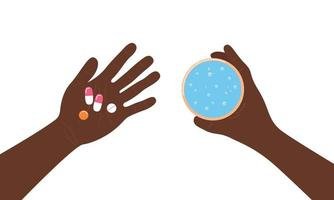 Taking pills. Medicines in palm top view. Hands of afican american person man holding tablets and water. Illness treatment concept. Vector flat illustration