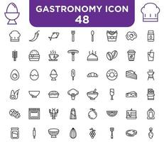 48 gastronomy icons set icon vector for your design element