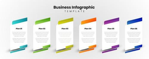 six colorful rectangle elements and text box. Business model concept with 6 successive steps or plans. Modern infographic design template. Vector illustration.