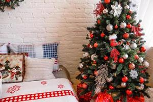 Beautiful Christmas festive interior in a country house on Christmas Eve photo