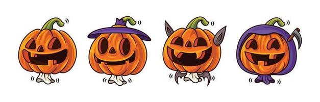 Happy Halloween. Cartoon series of cute Jack O Lantern pumpkin character with funny face expression and halloween costumes. Mascot set. vector