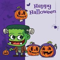 Cartoon cute Frankenstein monster with various funny pumpkin on halloween greeting signboard vector