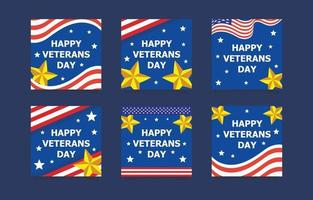 Happy Veterans Day Social Media Post Set vector
