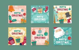 Merry Christmas Cute Doodle Social Media Post vector