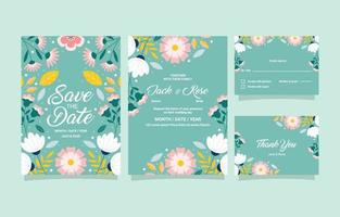 Wedding Invitation in Colorful Floral Set vector