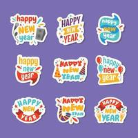 Cute Colorful Doodle Sticker of Happy New Year vector