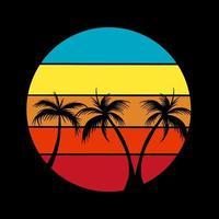 Summer beach vintage emblem vector