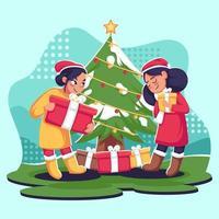 Best Friends Celebrate Christmas vector