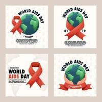 World AIDS Day Social Media Post vector