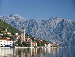 perast traditional balkan village mountain landscape near kotor in montenegro photo