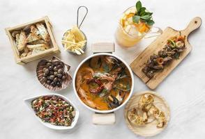mixed spanish gourmet tapas sharing set selection on restaurant table photo
