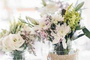 flowers arrangement and decoration rustic interior design in wedding table photo