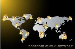 Dogecoin world map illustration, doge coin to the moon global network. vector