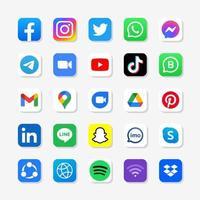 Set of social media logo in square background vector