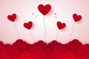Valentines day, Red heart balloons flying on sky, paper art style vector