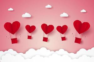 Valentines day, red heart hot air balloons flying, paper art style vector