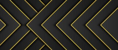 Abstract gold metallic, black frame background, triangular overlap layer with yellow light line, arrow or triangle shape, dark minimal design with copy space, vector illustration