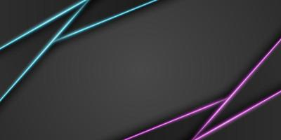 Abstract metallic black frame background, triangular overlap layer with bright neon blue and purple light line, diagonal shape, dark minimal design with copy space, vector illustration