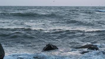les vagues frappent les rochers puis éclaboussent la caméra au ralenti video