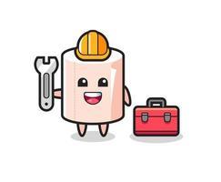 Mascot cartoon of tissue roll as a mechanic vector
