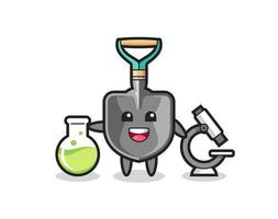 Mascot character of shovel as a scientist vector