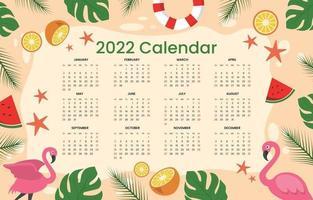 Calendar 2022 Summer Theme Template vector