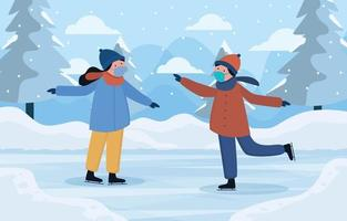 A Couple Play Ice Skating in the Winter vector