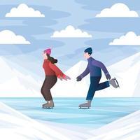 Boy and Girl Play Ice Skating vector