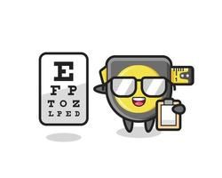 Illustration of tape measure mascot as an ophthalmologist vector