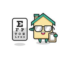 Illustration of house mascot as an ophthalmologist vector
