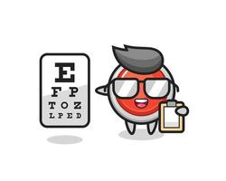 Illustration of emergency panic button mascot as an ophthalmologist vector