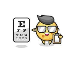 Illustration of round cheese mascot as an ophthalmologist vector