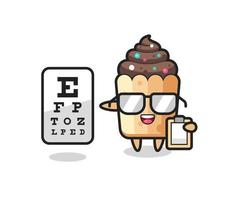 Illustration of cupcake mascot as an ophthalmologist vector