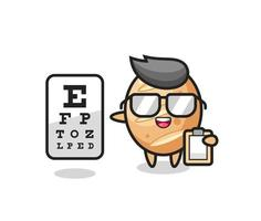 Illustration of french bread mascot as an ophthalmologist vector