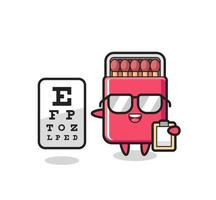 Illustration of matches box mascot as an ophthalmologist vector