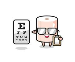 Illustration of tissue roll mascot as an ophthalmologist vector