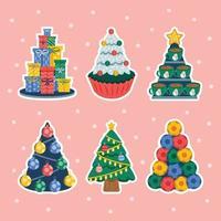 Set of Christmas Tree Sticker vector