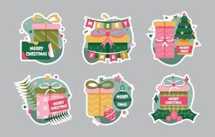 Christmas Gift Sticker Set vector