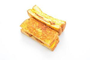 French toast ham bacon cheese sandwich with egg photo