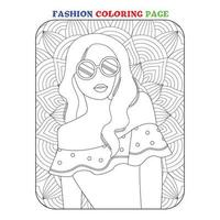 Beauty fashion coloring pages for children vector