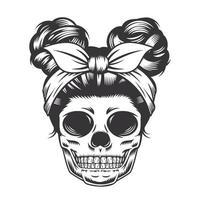 Skull Daughter Head design on white background. Halloween. skull head logos or icons. vector illustration.