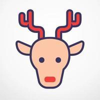 Reindeer christmas flat line vector illustration.
